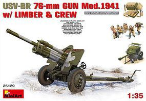 Mini-Art USV-BR 76mm Gun 1941 with Crew Plastic Model Military Vehicle Kit 1/35 Scale #35129