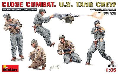 Mini-Art Close Combat US Tank Crew -- Plastic Model Military Figure -- 1/35 Scale -- #35135