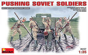 Mini-Art Pushing Soviet Soldiers (5) Plastic Model Military Figure 1/35 Scale #35137