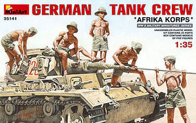 Mini-Art German Tank Crew Afrika Korps (5) Plastic Model Military Figure 1/35 Scale #35141