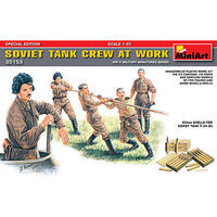 Mini-Art Soviet Tank Crew at Work (5) w/Ammo Boxes & Shells Plastic Military Figure 1/35 #35153