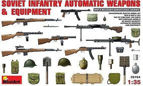 Mini-Art Soviet Infantry Automatic Weapons/Equip Plastic Model Military Weapon 1/35 Scale #35154