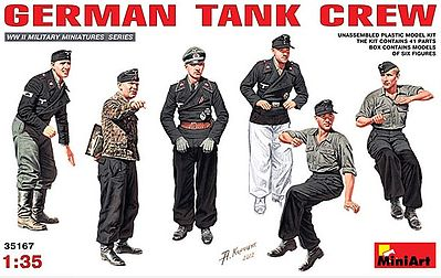 Mini-Art German Tank Crew (6) (New Tool) -- Plastic Model Military Figure -- 1/35 Scale -- #35167