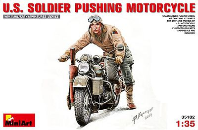 Mini-Art US Soldier and Motorcycle Plastic Model Military Vehicle Kit 1/35 Scale #35182