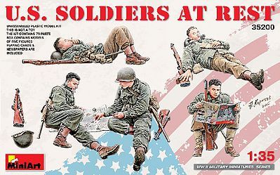 Mini-Art US Soldiers At Rest (5) -- Plastic Model Military Figure Kit -- 1/35 Scale -- #35200
