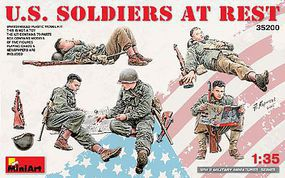 Mini-Art US Soldiers At Rest (5) Plastic Model Military Figure Kit 1/35 Scale #35200