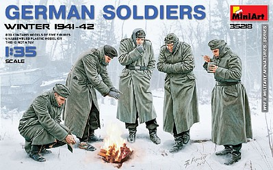 Mini-Art German Soldiers Winter 1941-42 (5) Plastic Model Military Figure Kit 1/35 Scale #35218