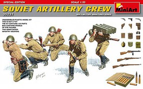 Mini-Art 1/35 WWII Soviet Artillery Crew (5) w/Ammo Boxes & Weapons (Special Edition)