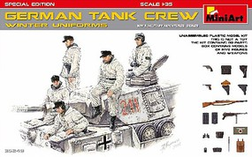 Mini-Art WWII German Tank Crew Winter Uniforms (5) Plastic Model Military Figure Kit 1/35 #35249