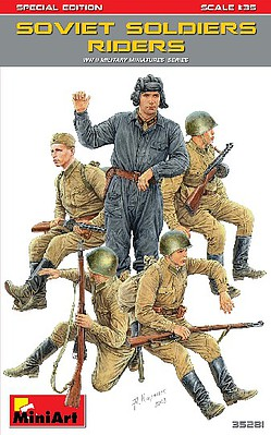 Mini-Art Soviet Soldiers Riders (5) (Special Edition) Plastic Model Military Figure Kit 1/35 #35281
