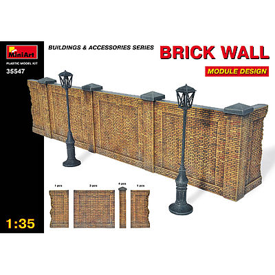 Mini-Art Brick Wall Module Plastic Model Diorama Kit 1/35 Scale #35547
