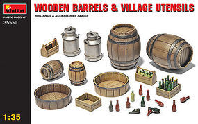 Mini-Art Wooden Barrels and Village Utensils Plastic Model Diorama Kit 1/35 Scale #35550