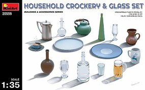 Mini-Art Household Crockery/Glass Sets Plastic Model Diorama Accessory 1/35 Scale #35559