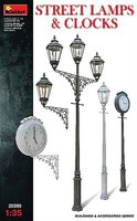 Mini-Art 1/35 Assorted Street Lamps (3) / Clocks (2)