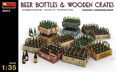 Mini-Art Beer Bottles & Wooden Crates Plastic Model Diorama Accessory 1/35 Scale #35574