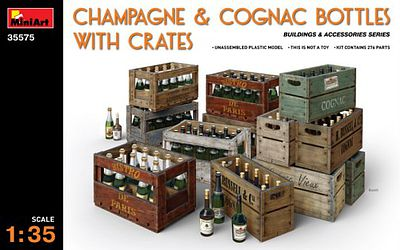 Mini-Art Champagne Cognac Bottles with Crates Plastic Model Diorama Accessory 1/35 Scale #35575