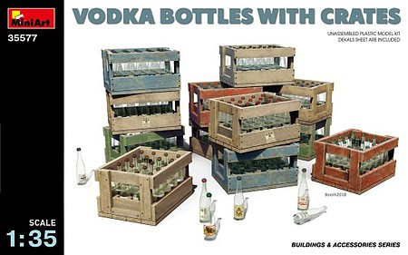 Mini-Art Vodka Bottles with Crates Plastic Model Military Accessory 1/35 Scale #35577