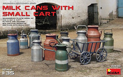Mini-Art Milk Cans with Small Cart (New Tool) Plastic Model Diorama Accessory 1/35 Scale #35580