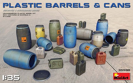 Mini-Art Plastic Barrels(12)&Cans(12) 1-35
