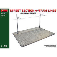 Mini-Art Street Section with Tram Lines Plastic Model Military Diorama 1/35 Scale #36040