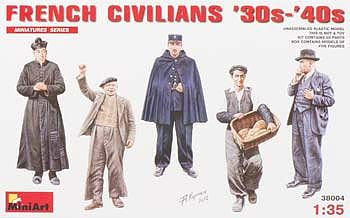 Mini-Art French Civilians 1930's-1940's -- Plastic Model Military Figure -- 1/35 Scale -- #38004