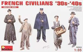 Mini-Art French Civilians 1930s-1940s Plastic Model Military Figure 1/35 Scale #38004