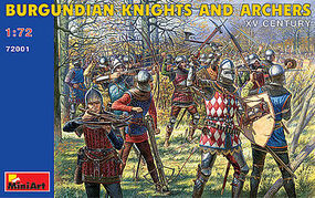 Mini-Art Burgundian Knights and Archers XV Plastic Model Military Figure 1/72 Scale #72001