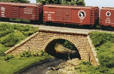 Monroe Models Single Track Stone Arch Bridge Kit -- HO Scale Model Railroad Bridge -- #2001