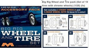 Semi Wheels/Tires 10 Pack Plastic Model Vehicle Accessory Set 1/25 Scale #1010