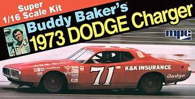 MPC Buddy Baker 1973 Dodge Charger Stock Car Plastic Model Car Kit 1/16 Scale #811