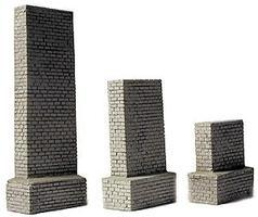 Railstuff Stone Bridge Piers Gray Set w/1 Each Model Railroad Bridge HO Scale #1425