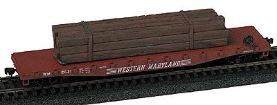 Railstuff Banded Heavy Bridge Timbers Creasoted Wood Model Train Freight Car HO Scale #2050