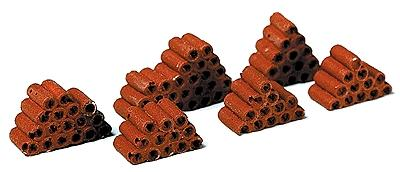 Model Railstuff Stacked Drainage Tile Red (6) -- Model Railroad Building Accessory -- HO Scale -- #480