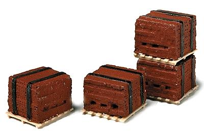 Model Railstuff Banded Bricks on Pallets Red (4) -- Model Railroad Building Accessory -- HO Scale -- #520