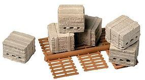 Railstuff Mr. Plaster Unpainted Kits Bricks w/Pallets Model Railroad Building Accessory HO Scale #930