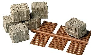 Railstuff Mr. Plaster Unpainted Kits Blocks w/Pallets Model Railroad Building Accessory HO Scale #940