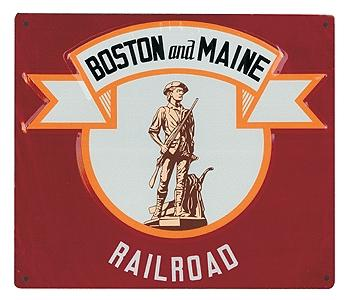 Microscale Inc Embossed Die-Cut Metal Sign - Boston & Maine -- Model Railroad Print Sign -- #10025