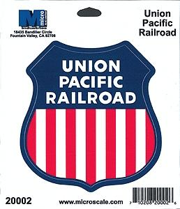 Microscale Inc 4'' Die-Cut Vinyl Stickers - Union Pacific -- Model Railroad Print Sign -- #20002