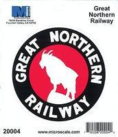 Microscale 4 Die-Cut Vinyl Stickers - Great Northern Model Railroad Print Sign #20004
