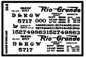 Microscale Denver & Rio Grande Western Stock Car Narrow Gauge (1930+) G Scale Model Railroad Decal #246
