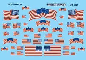 Microscale American 48-Star Flags Decals HO Scale Model Railroad Decal #4201
