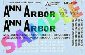 Microscale Ann Arbor Mini-Cal Hood Diesels (1963-1976) HO Scale Model Railroad Decal #4301