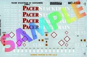 Microscale Pacer Stack Train 53 Container (1999+) HO Scale Model Railroad Decal #4342