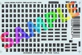 Microscale EMD & GE Diesel Model Plates (Black & Silver, 1939+) HO Scale Model Railroad Decal #4343