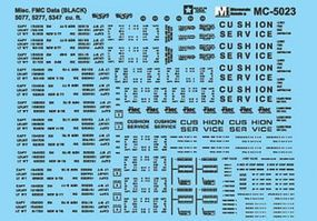 Microscale Boxcar Data for FMC 5077 5277 (ABOX) 5347 Cars Black HO Scale Model Railroad Decal #5023