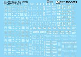 Microscale Boxcar Data for FMC 5077 5277 (ABOX) 5347 Cars White HO Scale Model Railroad Decal #5024