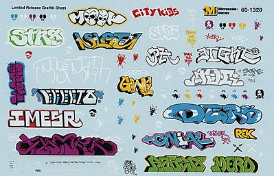 Microscale Inc Graffiti Decal Set Urban Graffiti -- N Scale Model Railroad Decal -- #601320