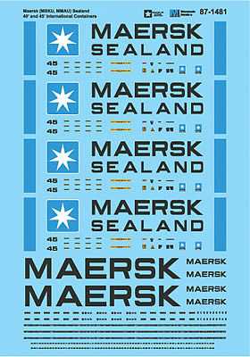 Microscale Inc Maersk MMAU Sealand 40 & 45' International Containers -- N Scale Model Railroad Decal -- #601481