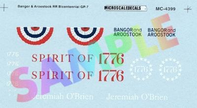 Microscale Inc BAR and B&M Bicentennial GP7 & GP38-2 Diesels 1976 -- N Scale Model Railroad Decal -- #604399