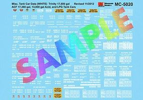 Microscale Tank Car Data White Lettering N Scale Model Railroad Decal #605020
